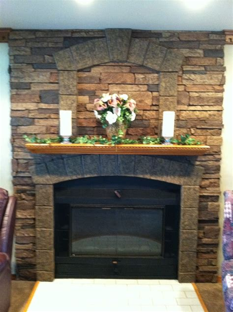 Faux Stone Wall Panels For Fireplace Design Wiith Brown