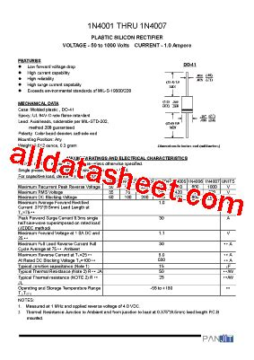 datasheet diode 1n4007 1n4007 datasheet pdf pan jit international inc