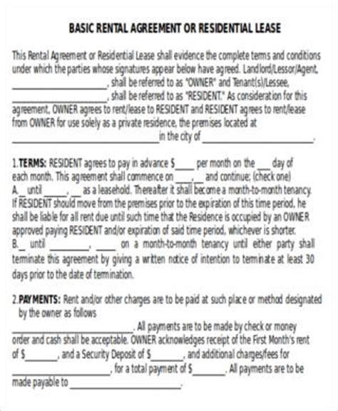 house rent contracts house rent contract 7 exles in word pdf