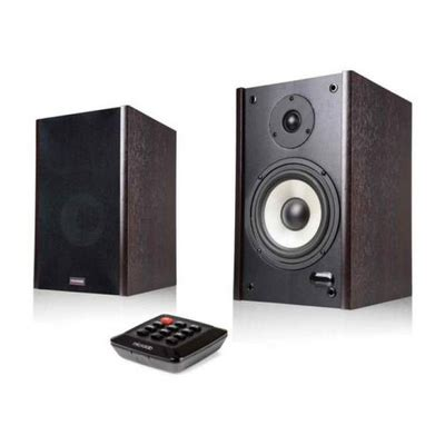 microlab 60w bookshelf stereo speakers wood finish