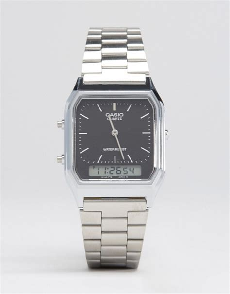 Casio Square Watches casio casio analogue digital square in silver
