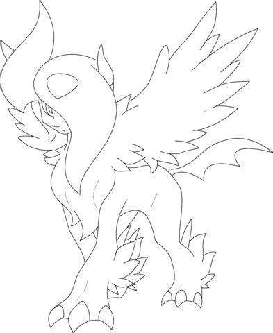 pokemon coloring pages mega camerupt mega absol coloring page free printable coloring pages