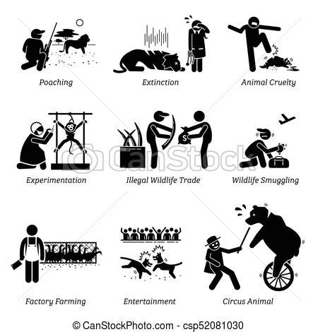 animal rights and issues stick figure pictogram icons