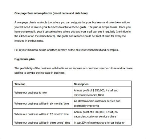 sales action plan template 22 free word excel pdf