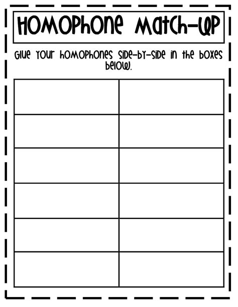 printable homophone games homophone match up pdf first grade reading pinterest