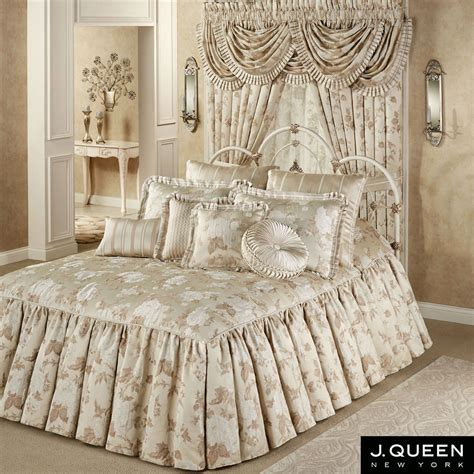 queen bed spread laurette floral ruffled flounce grande bedspread from j