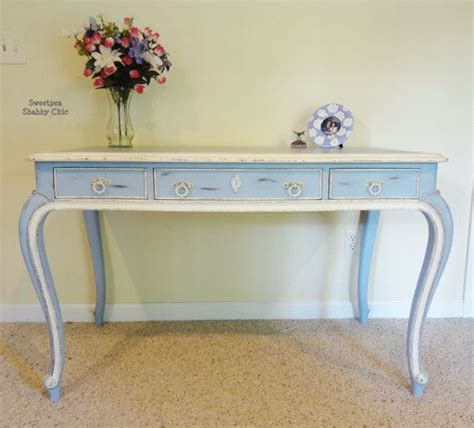 Shabby Chic Painted Writing Desk In Louis Blue And Old White Shabby Chic Desk
