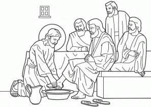 Jesus Washing Feet Coloring Page - jesus washes the disciples feet coloring page coloring home