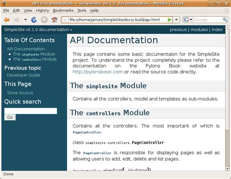Chapter 13 Documentation Pylons Book V1 0 Documentation Api Documentation Html Template
