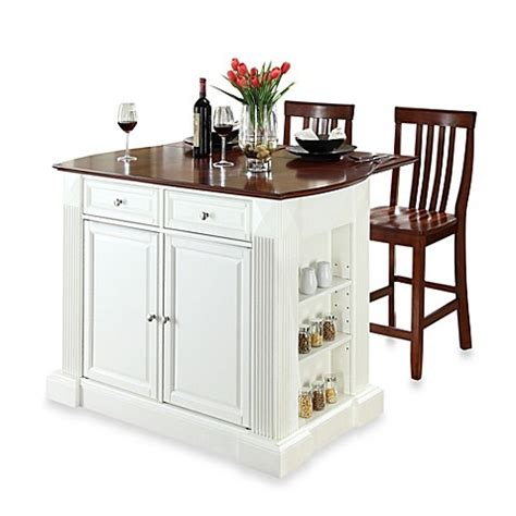 White Kitchen Island With Drop Leaf Buy Crosley Drop Leaf Breakfast Bar Top Kitchen Island In White With 24 Inch Cherry School House