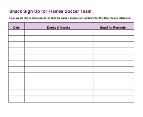doodle sign up form sign up sheet template 22 soccer snack