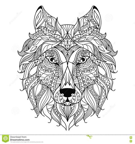 Wolf Zentangle Outline by Wolf Zentangle Stylized Coloring Page Stock Vector Illustration Of 75917135