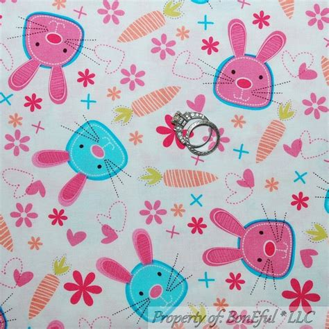 Rabbit Quilt Fabric by Boneful Fabric Fq Cotton Quilt Vtg Pink Flower