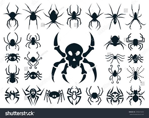 different tribal tattoo styles set spider shapes different styles stock vector