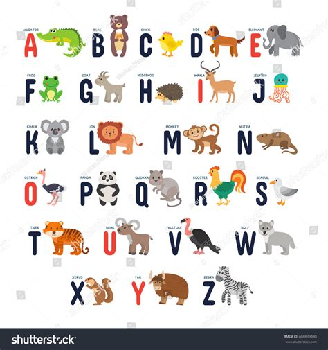 alphabet with animals stock vector zoo alphabet animals vector stock vector