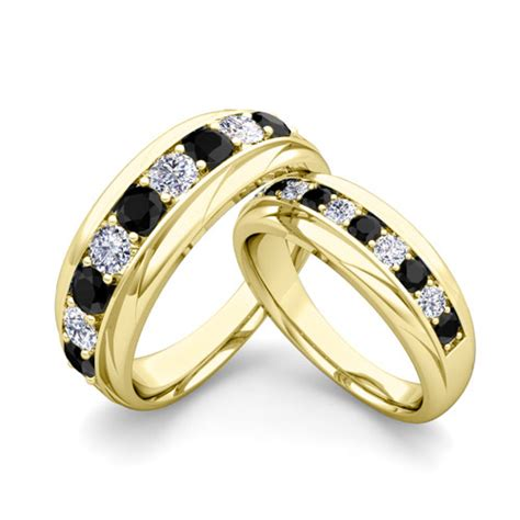 his and hers wedding band 14k gold black wedding rings