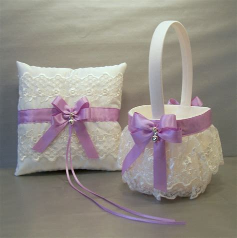 Wedding Pillow Sets by Orchid Wedding Bridal Flower Basket And Ring Bearer Pillow Set On Ivory Or White