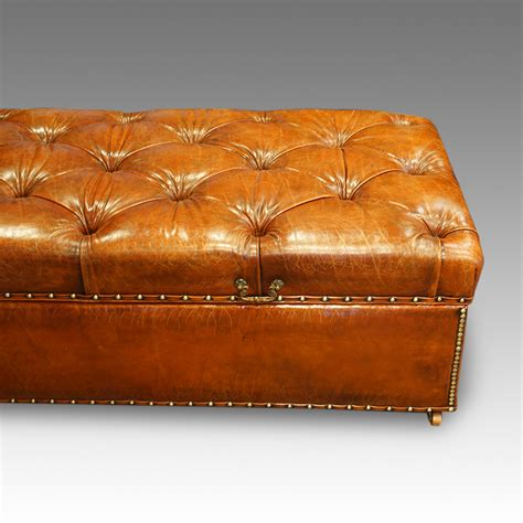 leather hassock ottoman large edwardian leather ottoman hingstons antiques dealers