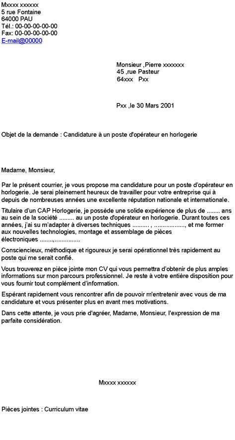 Exemple Lettre De Motivation Candidature Spontanée Horlogerie Pdf Lettre De Motivation Stage Horlogerie