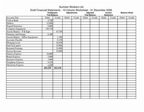 trial balance sheet free premium templates