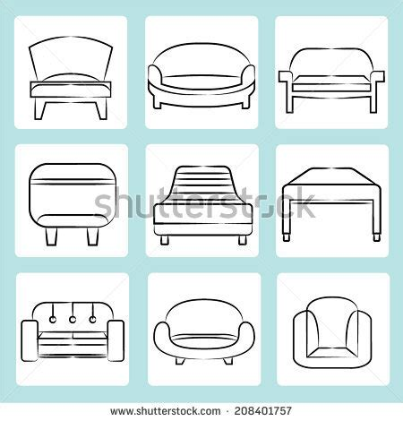 Sketch Chair Icons Set Sofa by Furniture Set Icons Monochrome Style Big Stock Vector