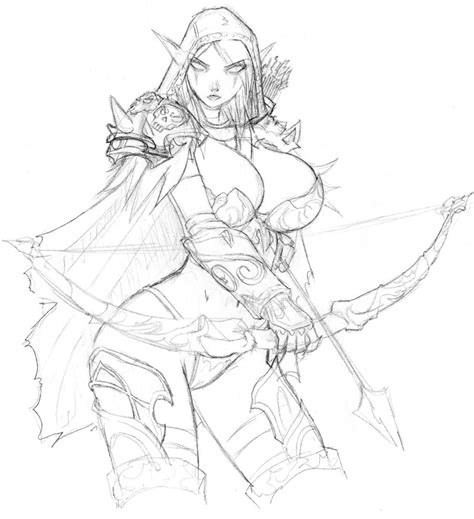 how to draw sylvanas sylvanas windrunner wip by devil v on