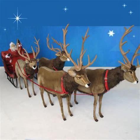 life size plush santa sleigh 4 reindeer 16 ft w 3 999