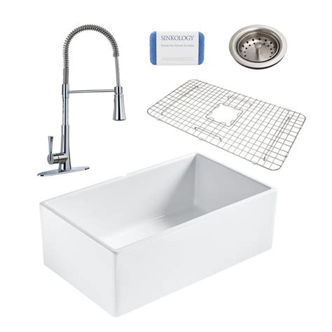 Fireclay Kitchen Sinks by Sinkology Bradstreet Ii All In One Farmhouse Fireclay 30