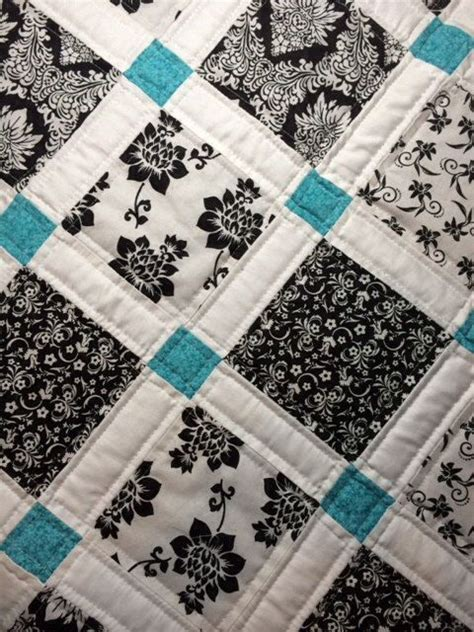 Teal Colored Quilts Modern Baby Quilt Black White And Teal Colors The