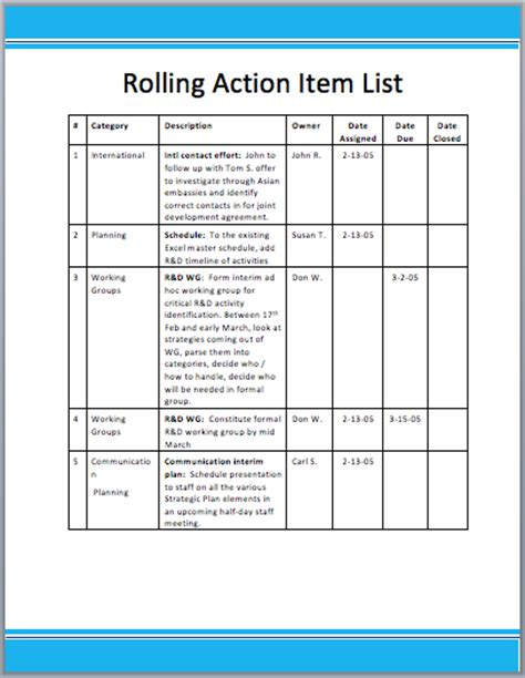 rolling action item list template format template