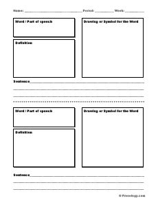 vocabulary card template pdf vocabulary word definition form freeology