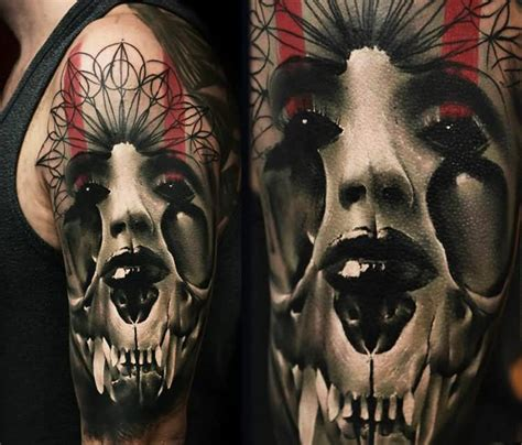 half woman half skull tattoo designs 11 horror tattoos on half sleeve