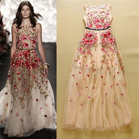 flower design wedding dresses flower embroidered floral print formal dresses for girls