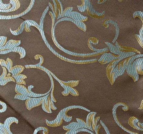 drapery and upholstery fabric 10 yards jacquard brown floral design drapery upholstery