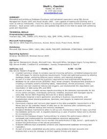 Oracle Database Developer Sle Resume by Sql Developer Resume