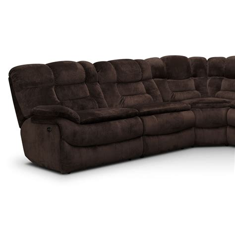 Sectional With Recliner Big Softie 6 Power Reclining Sectional With Right Facing Chaise Chocolate Value City