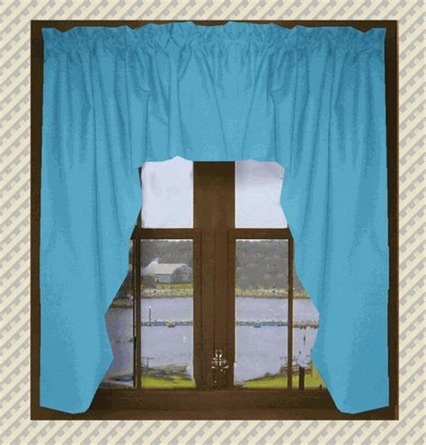 Solid Turquoise Window Valance Solid Turquoise Swag Window Valance