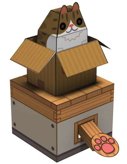 Cat Paper Craft - box cat papercraft papercraft paradise