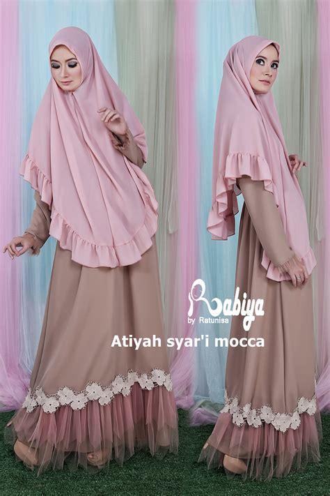 Baju Muslim Syari Queena atiyah syari pink by rabiya baju muslim gamis modern