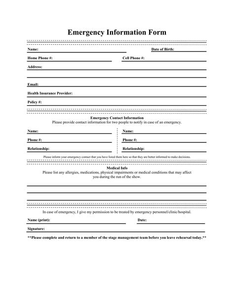 emergency information form template crew emergency contact information sheet 7 emergency