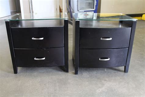 Espresso Nightstands by Pair Of Brand New Modern Glass Top Espresso Nightstands