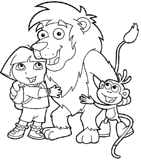 coloring pages boots the monkey coloring lion dora and boots the monkey picture