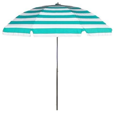 Turquoise Patio Umbrella Acrylic No Tilt Patio Umbrella Turquoise Stripe Contemporary Outdoor Umbrellas By