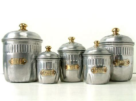 french vintage art deco kitchen canister set of by french vintage art deco kitchen canister set in aluminum