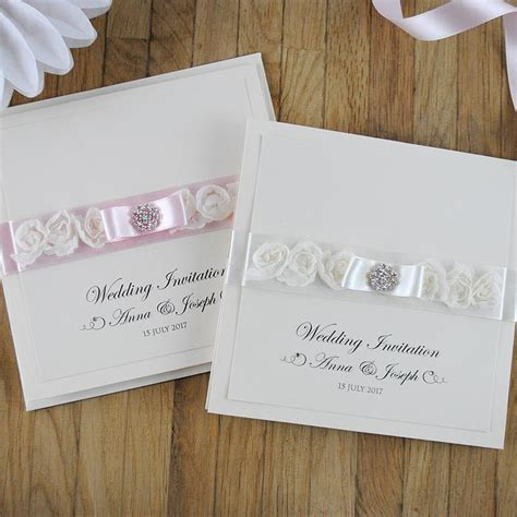 Handmade Invitations Uk - luxury handmade wedding invitation with diamont 233