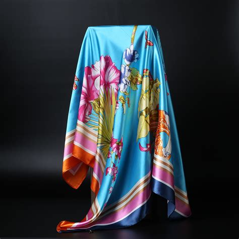 Silk Bigsize s fashion flower silk satin square scarf 2016 new brand silk like big size