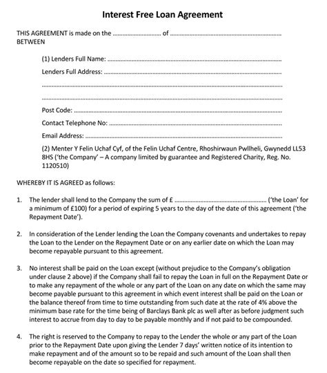 45 Loan Agreement Templates Sles Write Perfect Agreements Free Loan Agreement Template