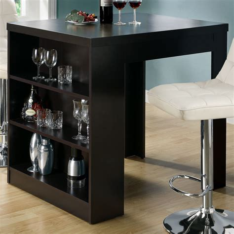 prudence pub table storage shelves cappuccino finish dcg stores