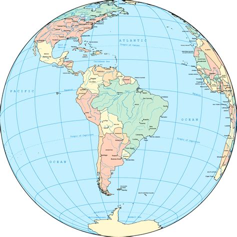 south america on the globe size