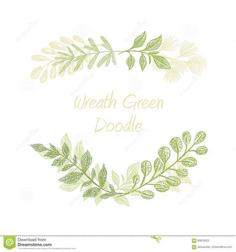 Green Floral Doodle Branch Border Vector Stock Vector Illustration Of Border Floral 90816525 Leaf Border Template